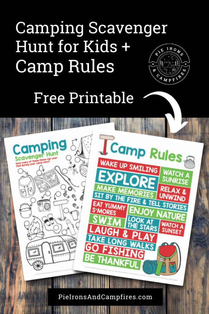 Camping Scavenger Hunt for Kids +  Camp Rules @ PieIronsAndCampfires.com