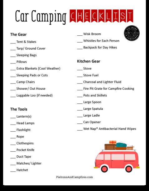 Car Camping Essentials + Free Printable Checklist @ PieIronsAndCampfires.com