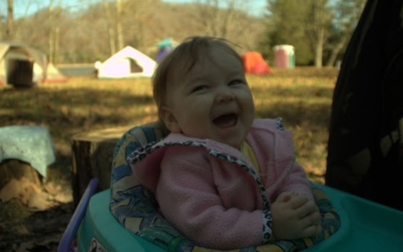 toddler on a camp out