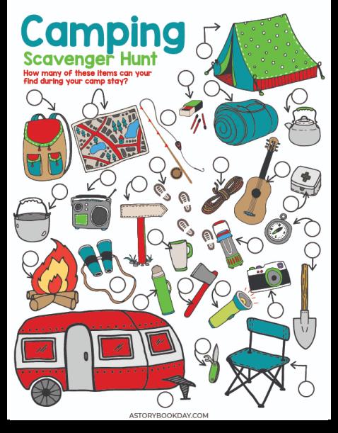 Free Printable Camping Scavenger Hunt + Camp Rules @ PieIronsAndCampfires.com