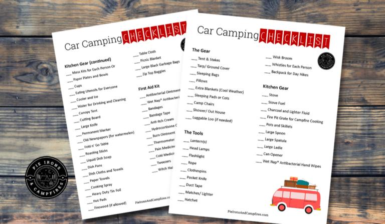 Free Printable Car Camping Checklist